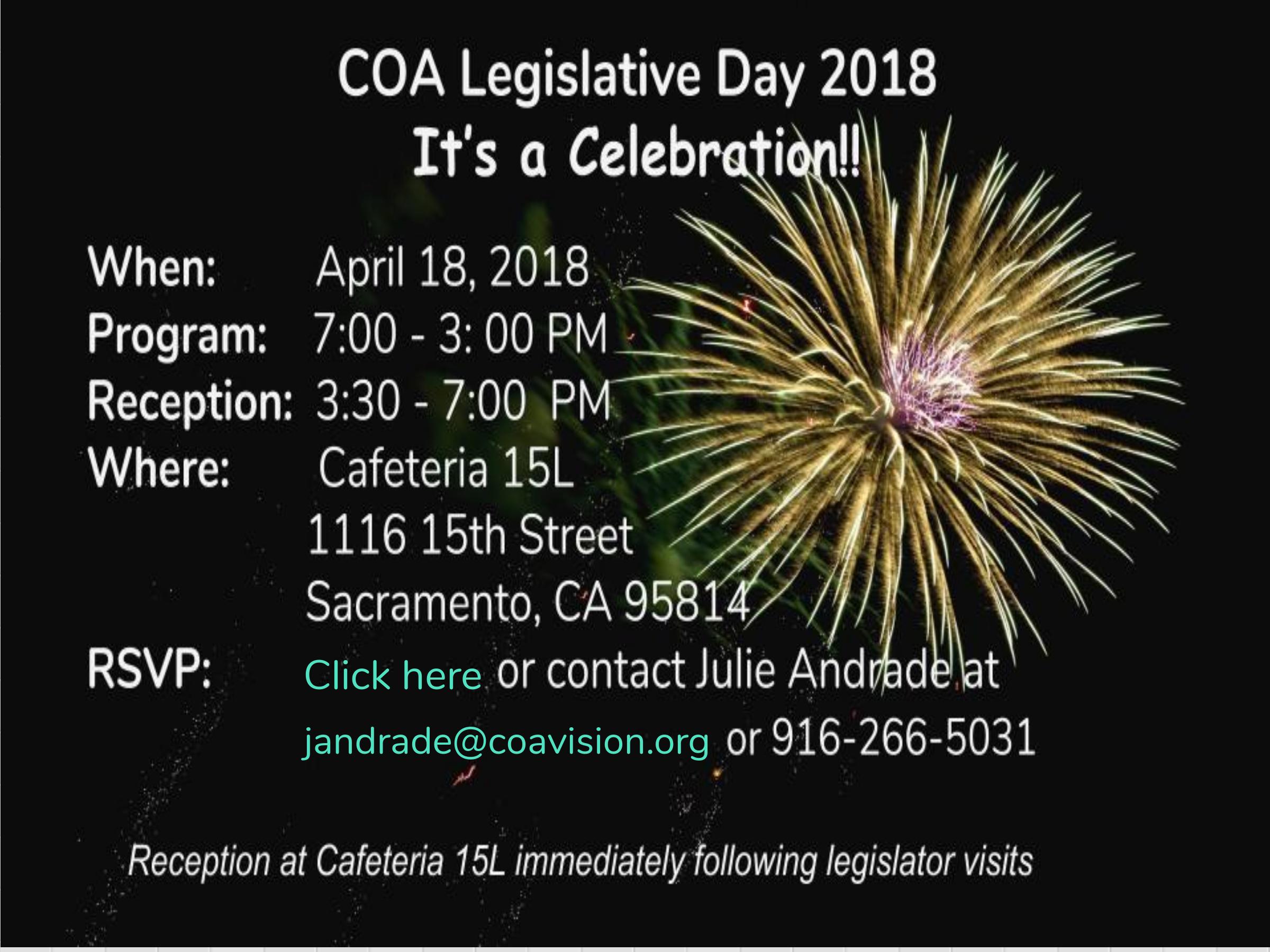 Register today for COA Legislative Day 2018!